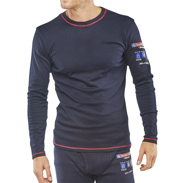 Click Arc Compliant T-Shirt Long Sleeve Fire Retardant S Navy Ref CARC22S *Up to 3 Day Leadtime*