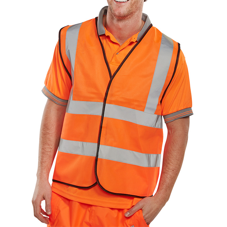 BSeen High Visibility Waistcoat Full App Large Orange/Black Piping Ref WCENGORL *Up to 3 Day Leadtime*
