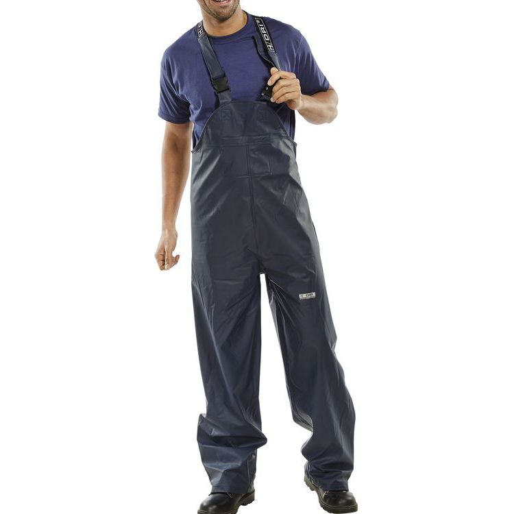 B-Dri Weatherproof Brecon Bib & Brace PU Coated L Navy Blue Ref BRECBBNL *Up to 3 Day Leadtime*