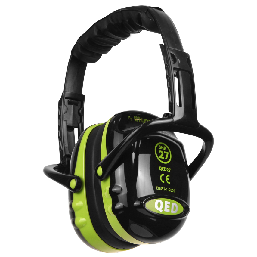 QED27 Ear Defender Folding Black/Green Ref QED27 *Up to 3 Day Leadtime*