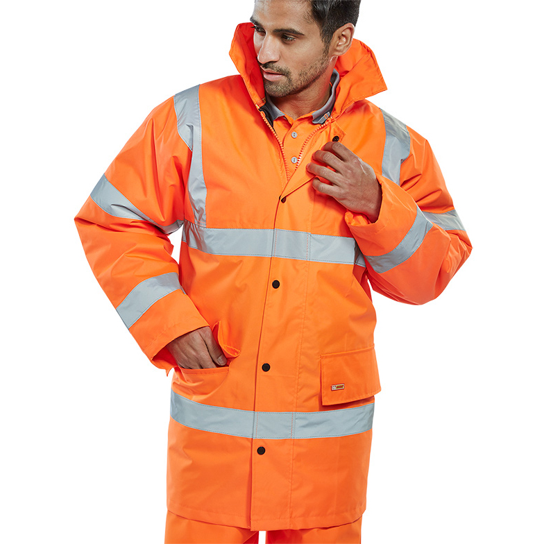 B-Seen High Visibility Constructor Jacket Small Orange Ref CTJENGORS Up to 3 Day Leadtime