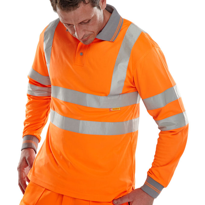 T-Shirts B-Seen Polo Long Sleeved Hi-Vis EN ISO20471 L Orange Ref BPKSLSENORL *Up to 3 Day Leadtime*