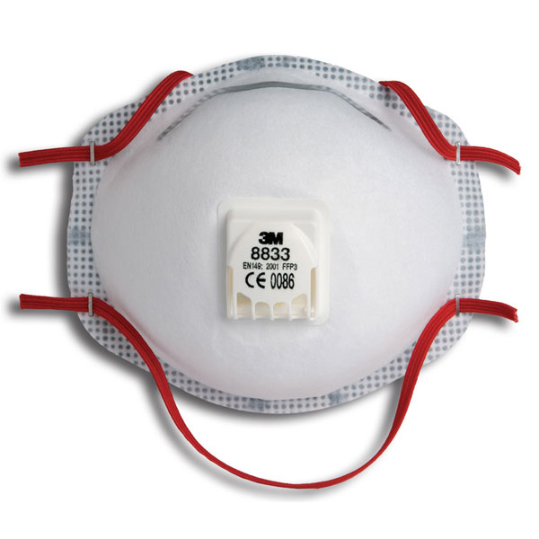 3M Mask FFP3V Cup-shaped Respirator White Ref 8833SP [Pack 5] *Up to 3 Day Leadtime*