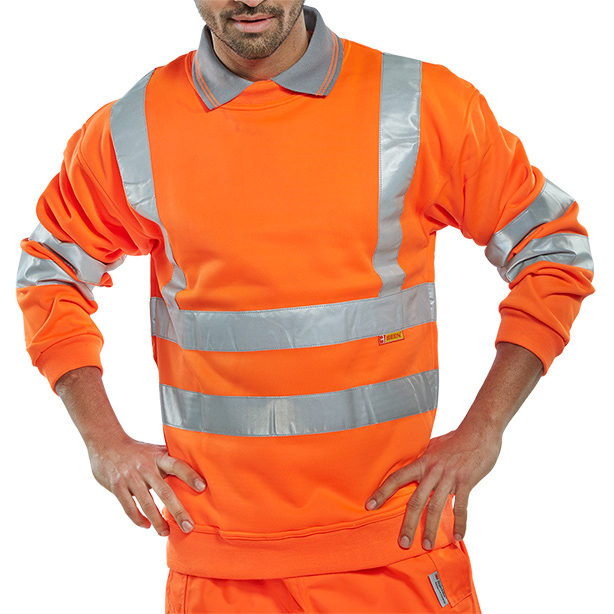 B-Seen Sweatshirt Hi-Vis Polyester 280gsm 4XL Orange Ref BSSENOR4XL *Up to 3 Day Leadtime*