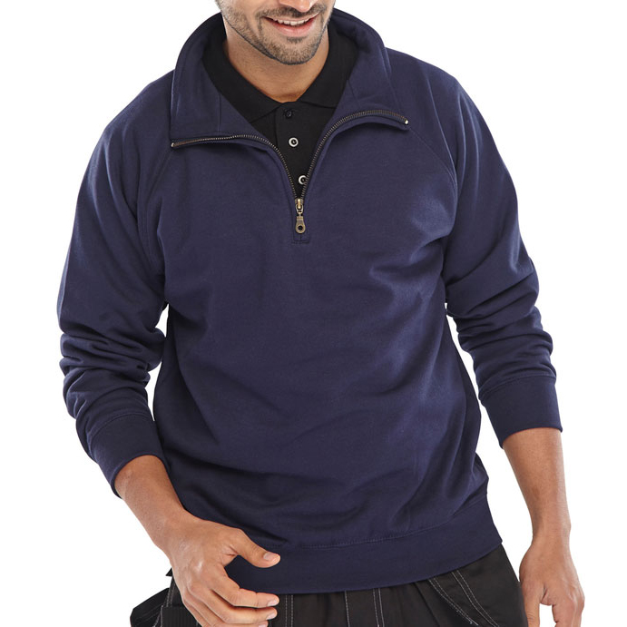 Sweatshirts / Jumpers / Hoodies Click Workwear Sweatshirt Quarter Zip 280gsm 2XL Navy Blue Ref CLQZSSNXXL *Up to 3 Day Leadtime*