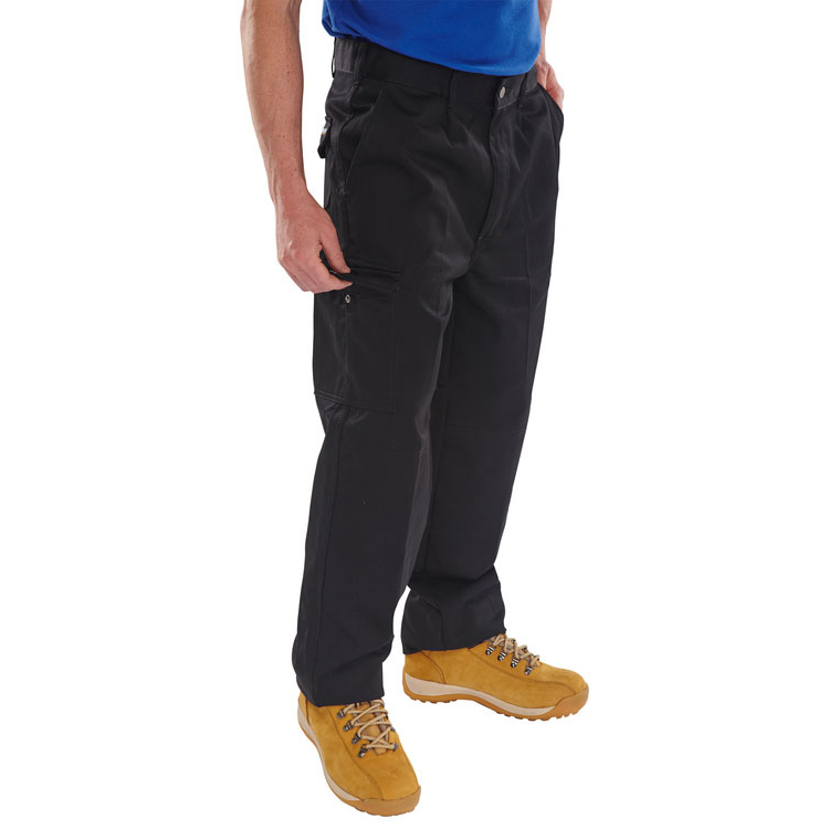 Click Heavyweight Drivers Trousers Flap Pockets Black 34 Ref PCT9BL34 *Up to 3 Day Leadtime*
