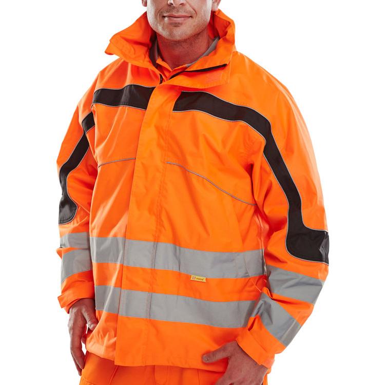 B-Seen Eton High Visibility Breathable EN471 Jacket Medium Orange Ref ET46ORM *Up to 3 Day Leadtime*