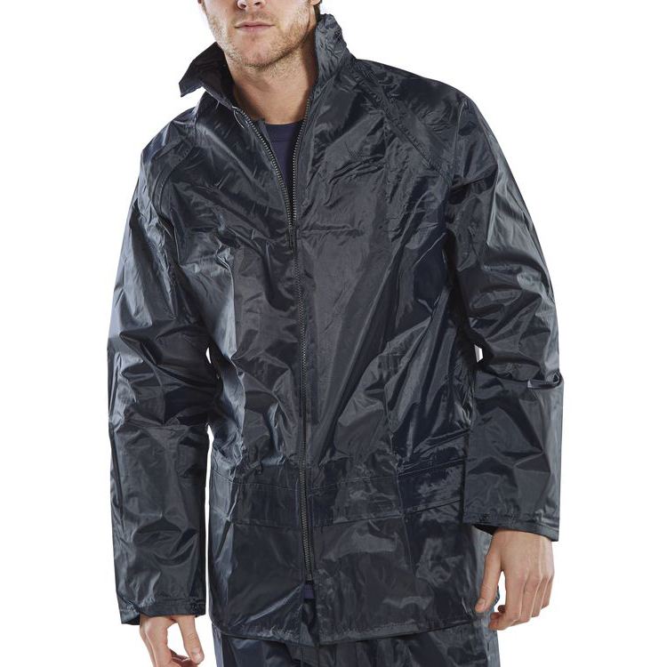 B-Dri Weatherproof Jacket with Hood Lightweight Nylon Small Navy Blue Ref NBDJNS *Up to 3 Day Leadtime*