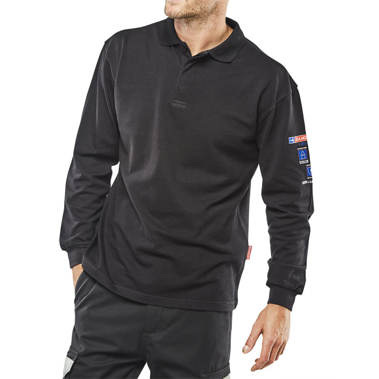 Click Arc Flash Polo Shirt L-Sleeve Fire Retardant L Navy Blue Ref CARC1NL *Up to 3 Day Leadtime*