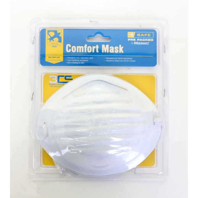 Limitless B-Safe Pre Packed Comfort Mask Fibreglass-free White Ref BS030 [Pack 5] *Up to 3 Day Leadtime*