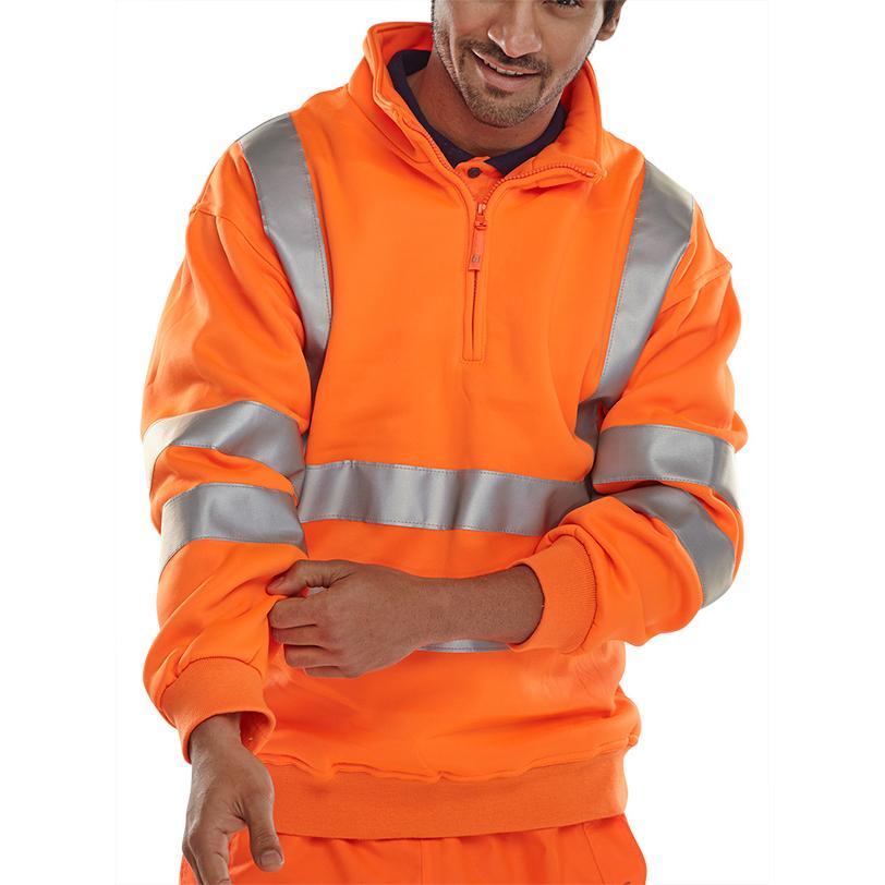 B-Seen Sweatshirt Quarter Zip Hi-Vis 280gsm L Orange Ref BSZSSENORL Up to 3 Day Leadtime