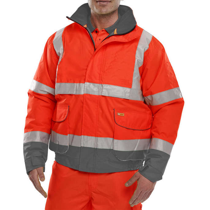 B-Seen Hi-Vis Two Tone Bomber Jacket Large Red/Grey Ref BD208REGYL *Up to 3 Day Leadtime*