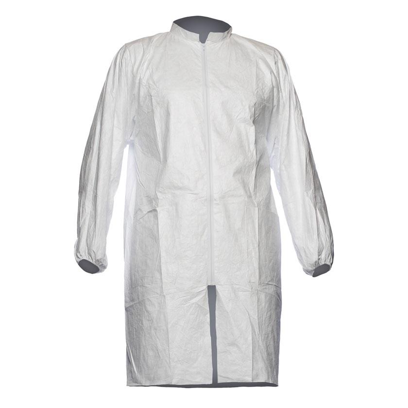 Tyvek 500 Labcoat PL309 Two Pockets PPE Cat 1 Medium White Ref TPL309M Pack 10 *Up to 3 Day Leadtime*