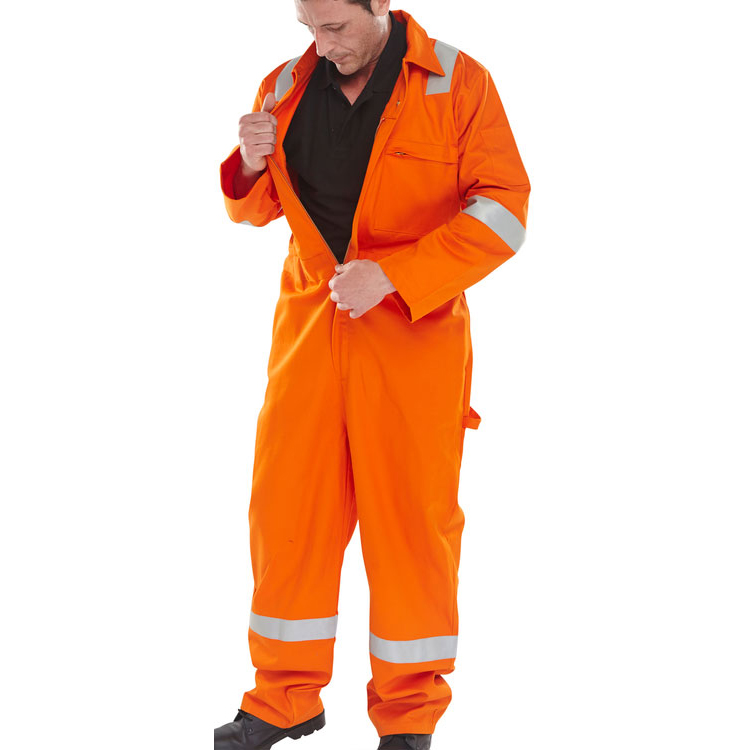 Coveralls / Overalls Click Fire Retardant Burgan Boilersuit Anti-Static Size 54 Orange Ref CFRASBBSOR54 *Up to 3 Day Leadtime*