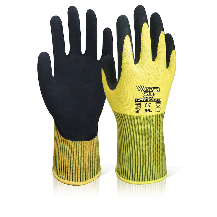 Wonder Grip WG-310H Comfort Hi-Vis Glove Large Yellow Ref WG310HSYL [Pack 12] Up to 3 Day Leadtime