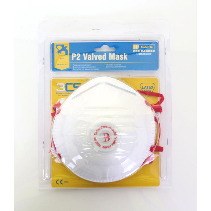 B-Safe Pre Packed P2 Valve Mask Polypropylene Latex-free White Ref BS032 [Pack 3] Up to 3 Day Leadtime