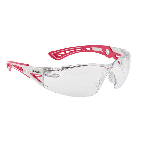 Bolle Rushplus Platinum Safety Glasses Clear/Pink Ref BORUSHPSPSIPPLUS [Pack 10] Up to 3 Day Leadtime