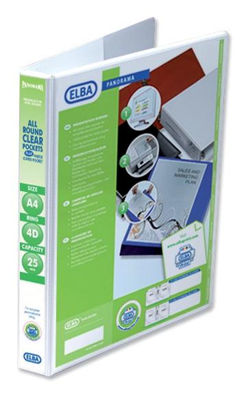 Elba Panorama Presentation Ring Binder PVC 4 D-Ring 25mm Capacity A4 White Ref 400008416 [Pack 6]
