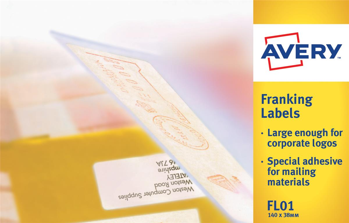 Image for Avery Franking Labels 2 per sheet 140x38mm White Ref FL01 [1000 Labels]
