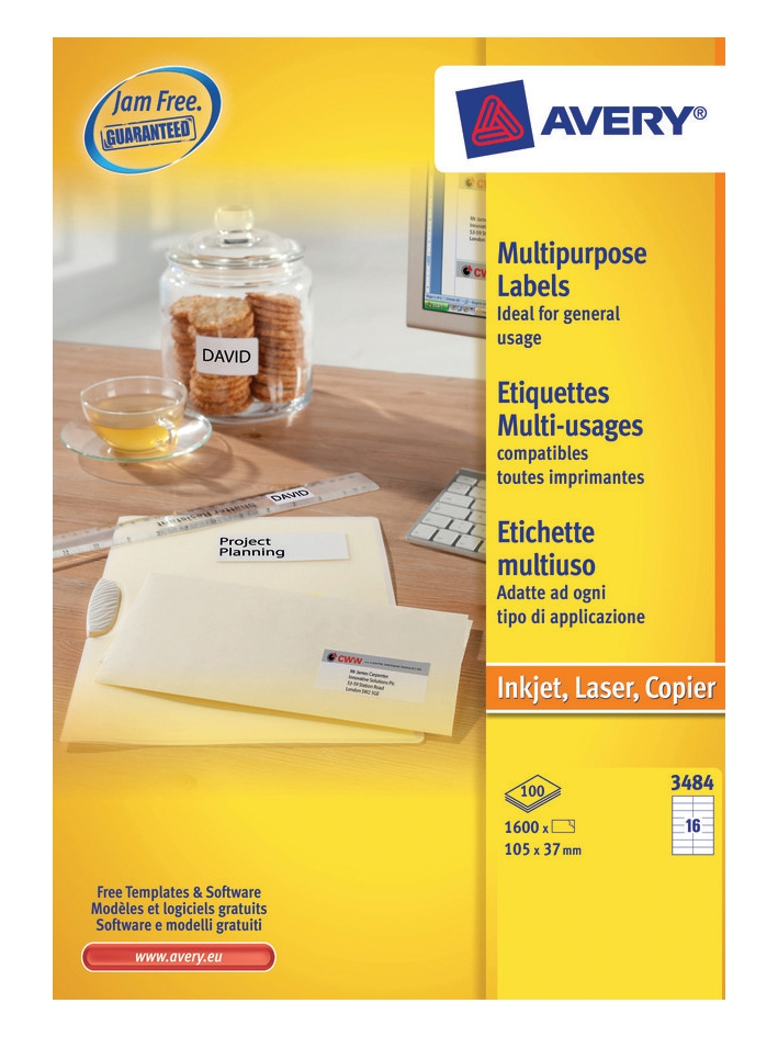 Image for Avery White Copier Labels 16 per Sheet 105x37mm White Ref 3484 [1600 Labels]