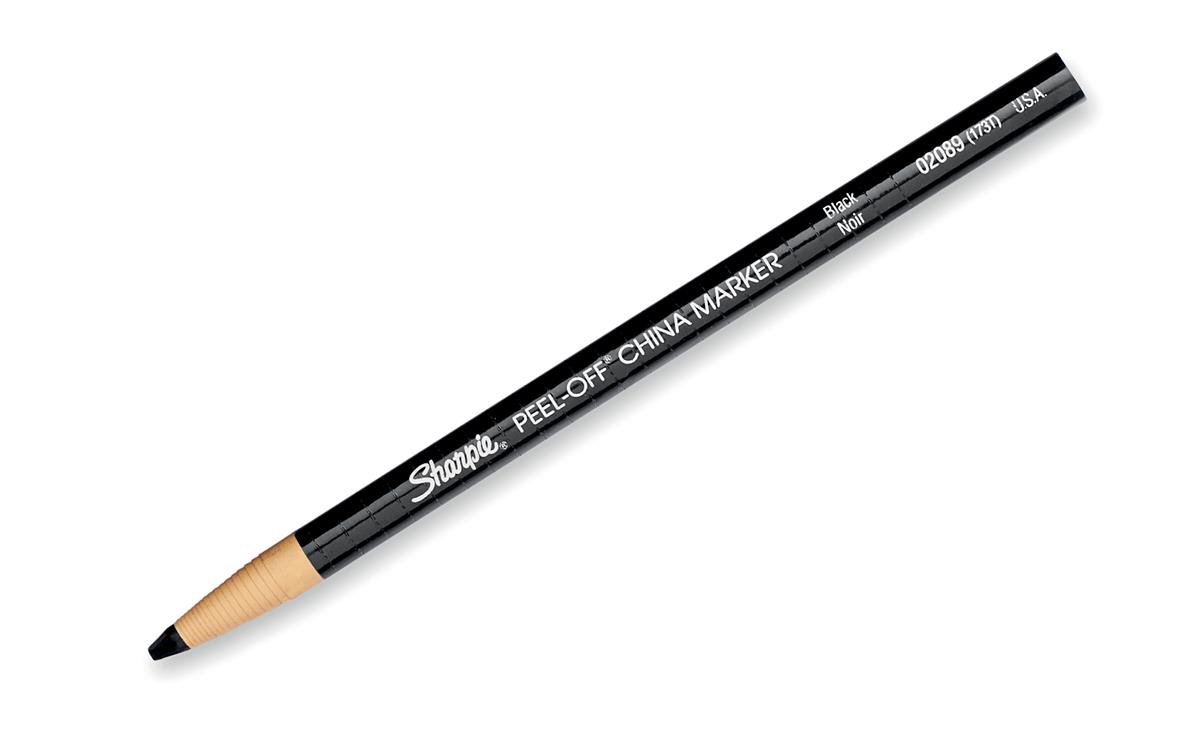 Image for Sharpie China Wax Marker Pencil Peel-off Unwraps to Sharpen Black Ref S0305070 [Pack 12]