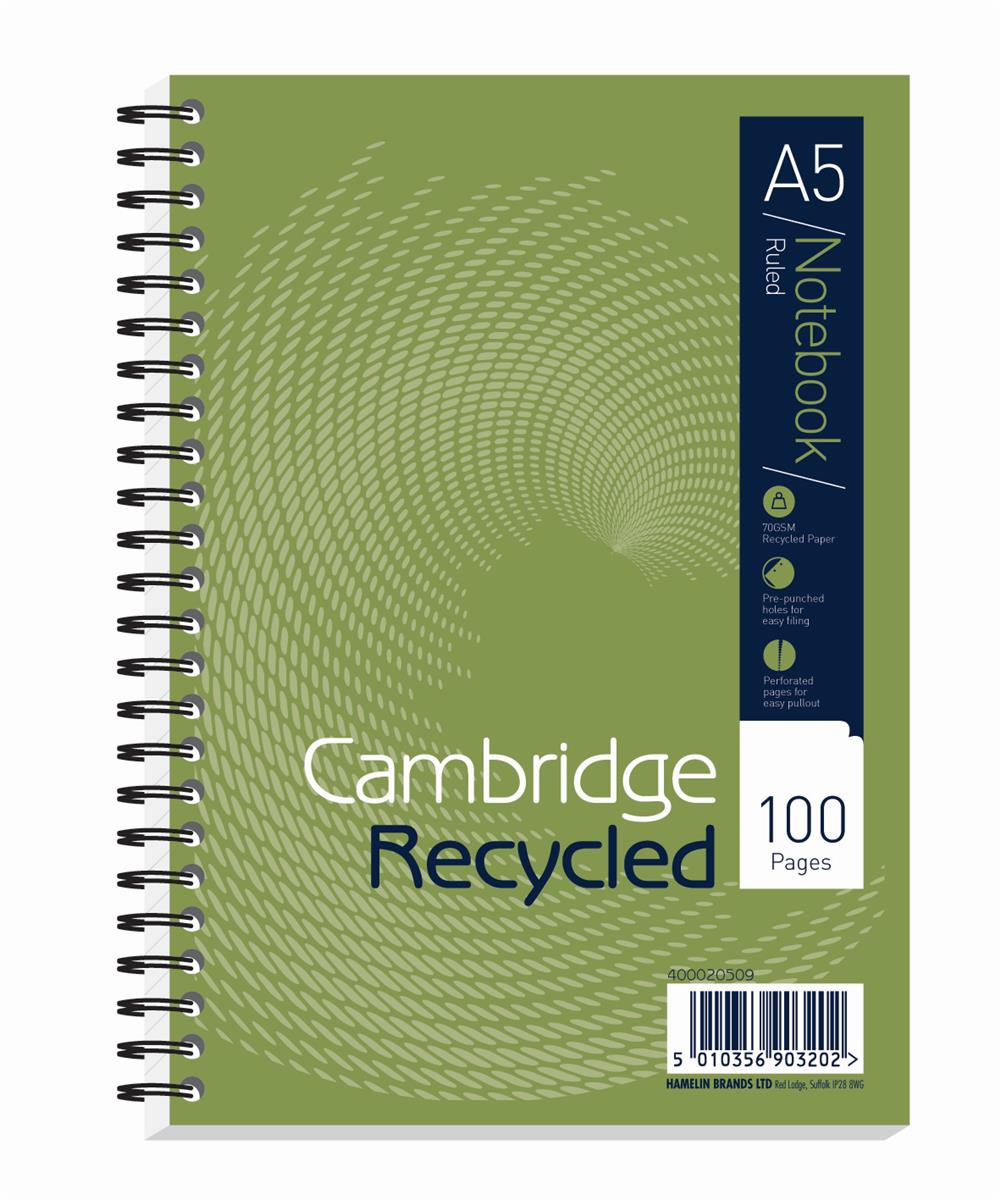 Image for Cambridge EveryDay Notebook Wirebound Recycled 100 Pages 70gsm A5 Ref 400020509 [Pack 5
