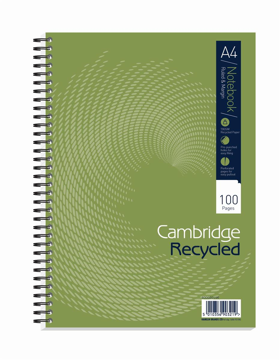 Image for Cambridge EveryDay Notebook Wirebound Recycled 100 Pages 70gsm A4 Ref 400020196 [Pack 5]