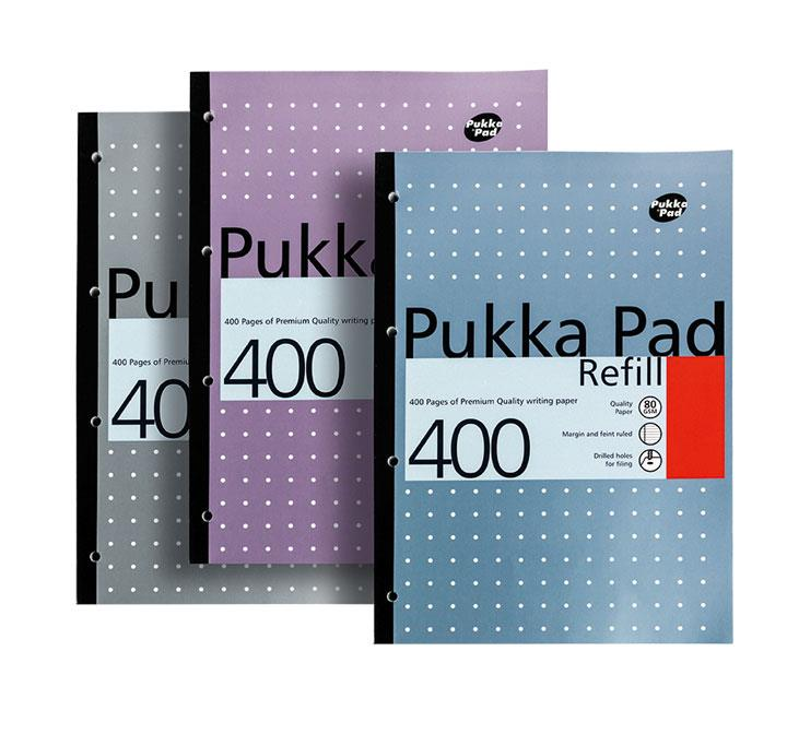 Image for Pukka Pad Refill Pad Sidebound Ruled with Margin Punched 80gsm 400pp A4 White Ref REF400 [Pack 5]