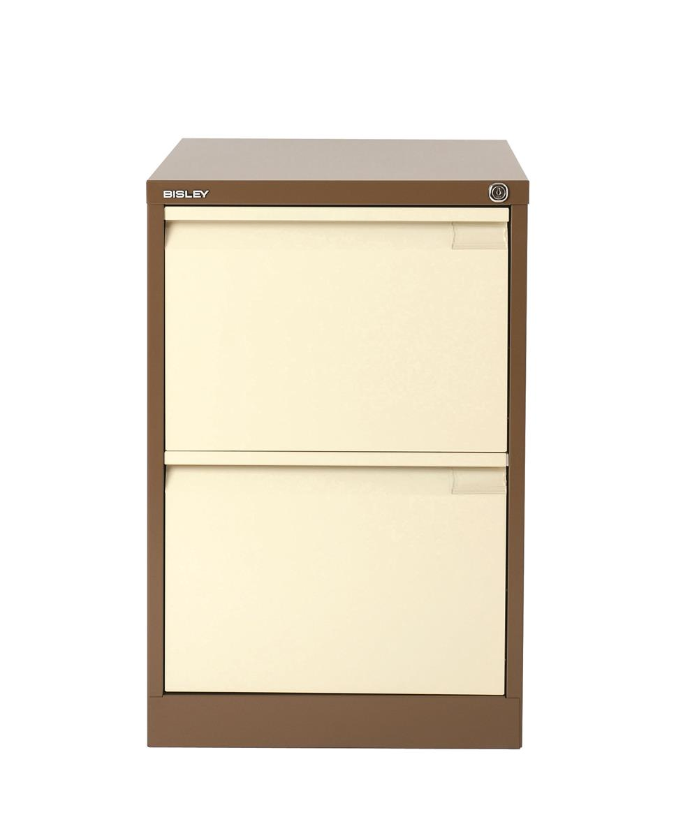 Image for Bisley BS2E Filing Cabinet 2-Drawer H711mm Brown and Cream Ref BS2E-0506