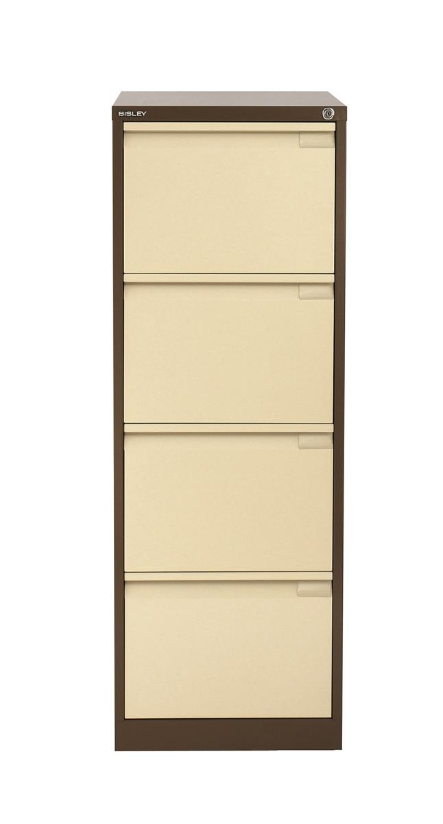Image for Bisley BS4E Filing Cabinet 4-Drawer H1321mm Brown and Cream Ref BS4E-0506