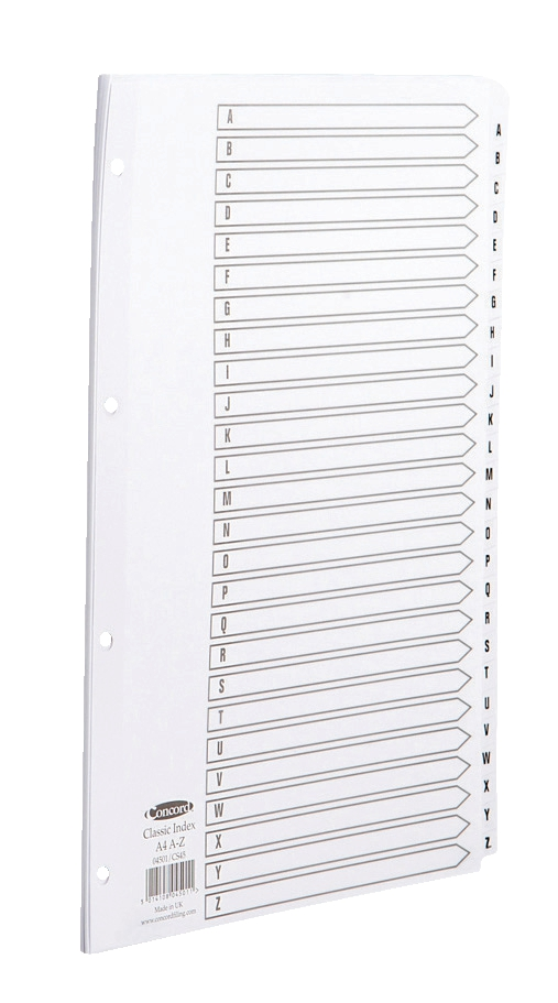 Concord Classic Index Mylar-reinforced Punched 4 Holes A-Z 26-Part A4 White Ref 04501/ CS45