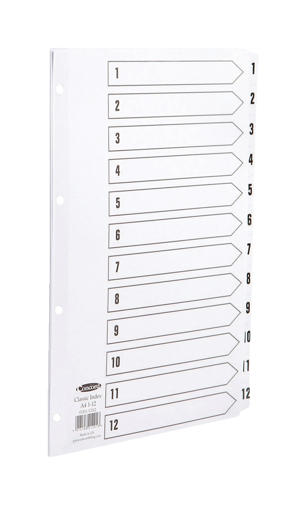 Image for Concord Classic Index Mylar-reinforced Punched 4 Holes 1-12 A4 White Ref 01201/CS12