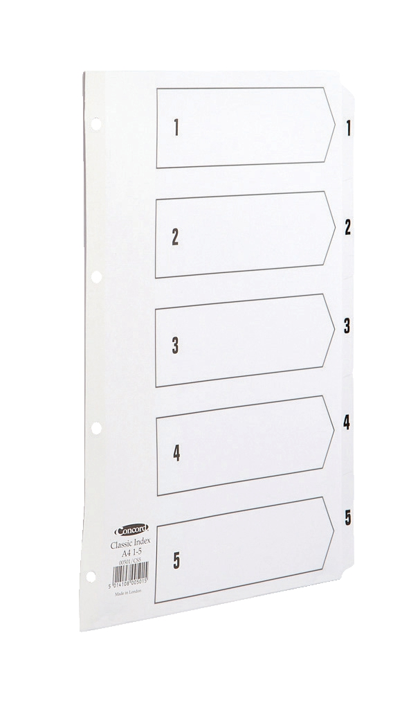 Image for Concord Classic Index Mylar-reinforced Punched 4 Holes 1-5 A4 White Ref 00501/CS5