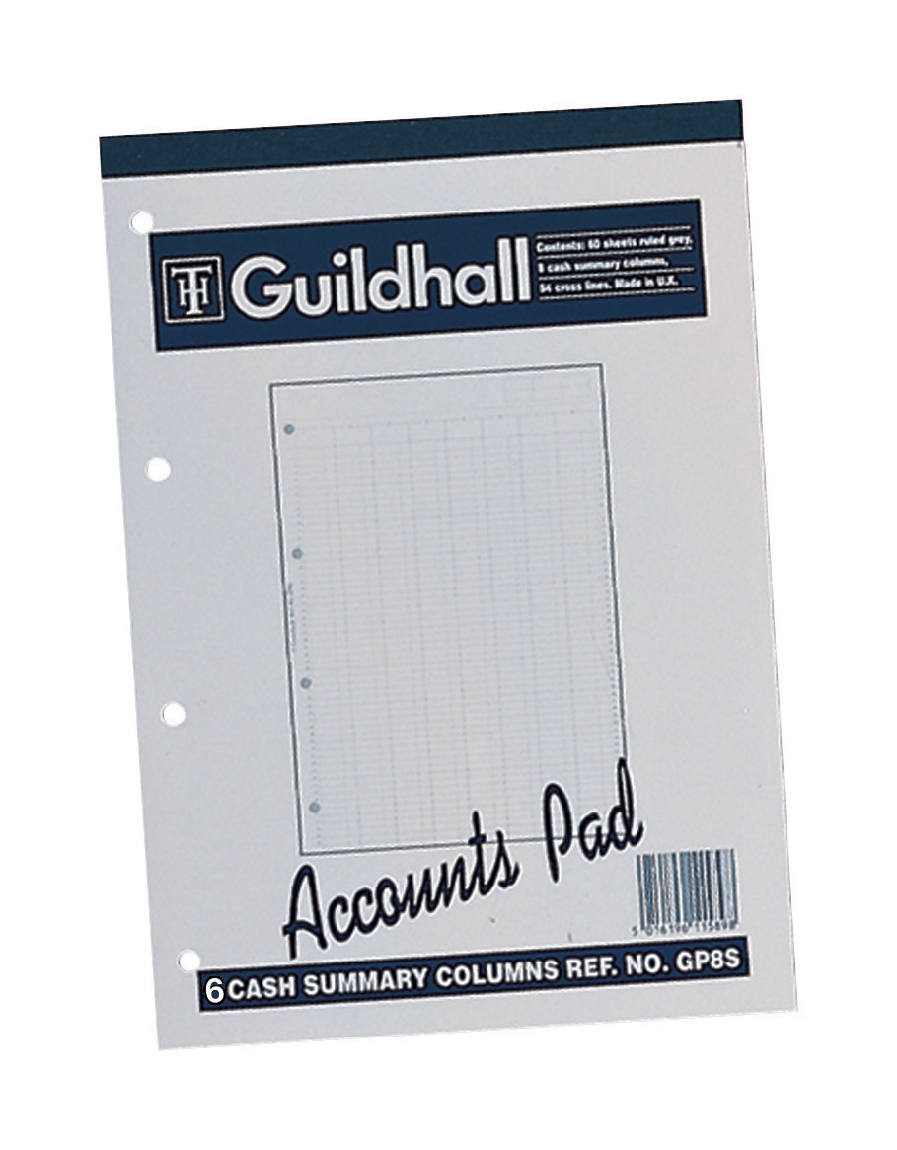 Image for Guildhall Account Pad 6 Cash Column Ruled 41 Feint 60 Leaf A4 Ref GP6Z