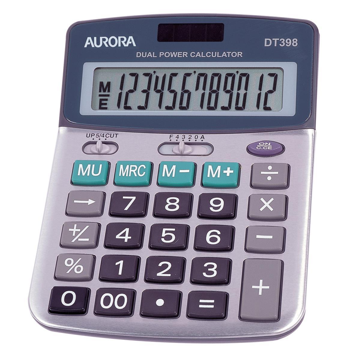 Image for Aurora Calculator Desktop Battery/Solar-power 12 Digit 3 Key Memory 103x138x28mm Ref DT398