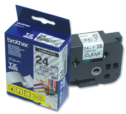 Image for Brother P-touch TZE Label Tape 24mmx8m Black on Clear Ref TZE151