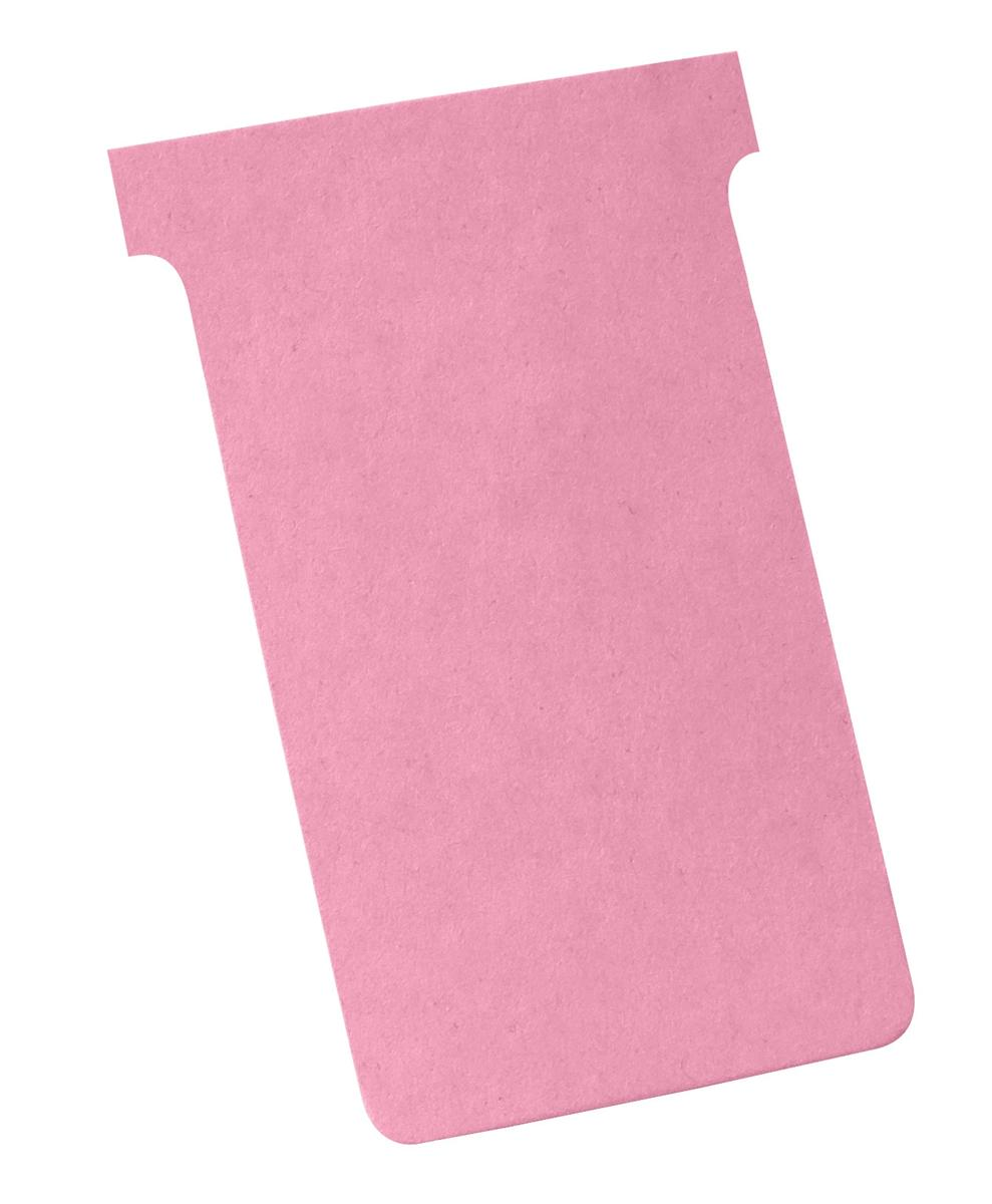 Image for Nobo T-Cards 160gsm Tab Top 15mm W124x Bottom W112x Full H180mm Size 4 Light Pink Ref 2004008 [Pack 100]