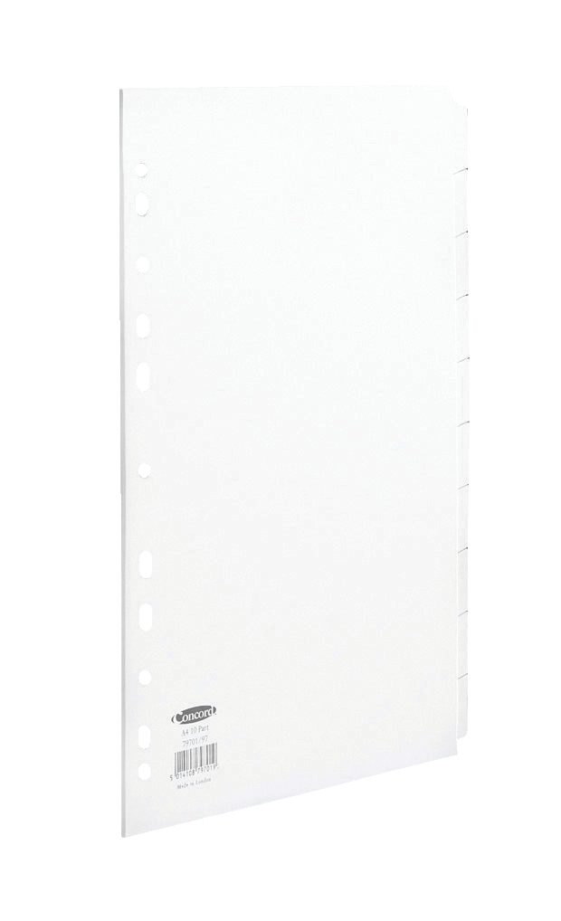 Image for Concord Subject Dividers 150gsm Punched 11 Holes 10-Part A4 White Ref 79701/97