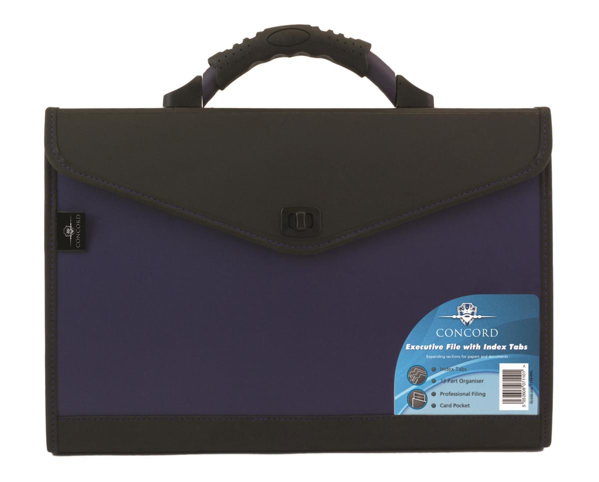 Image for Concord Expanding Organiser File Polypropylene 13 Part Foolscap Blue and Black Ref 7110-PFL