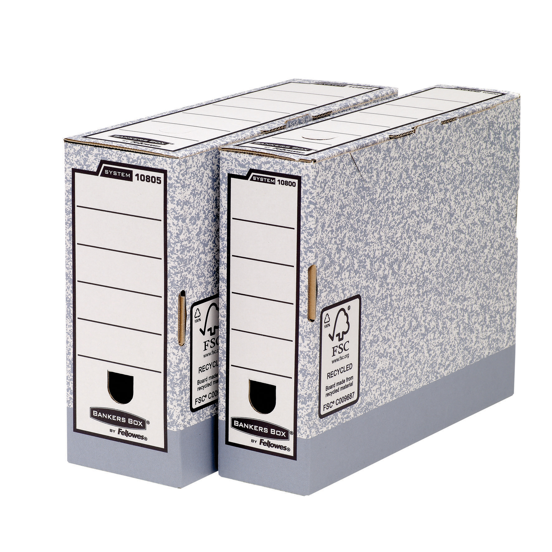 Storage Boxes Fellowes Bankers Box Transfer File 80mm Grey/White Ref 1180001 Pack 10