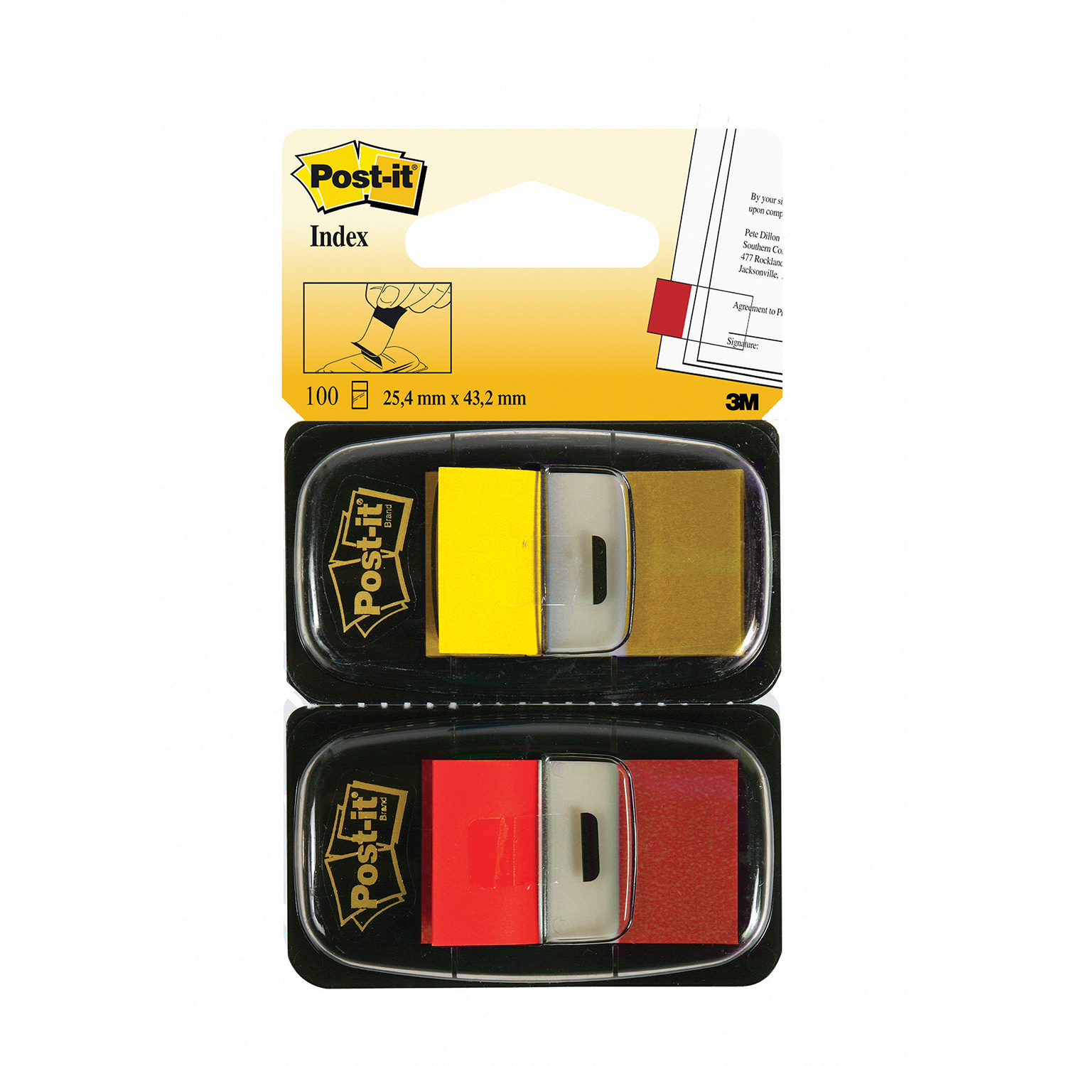 Post-It Index Markers 25x43.2mm Dual Pack Red/Yellow Ref 680-RY2 [100 Markers]