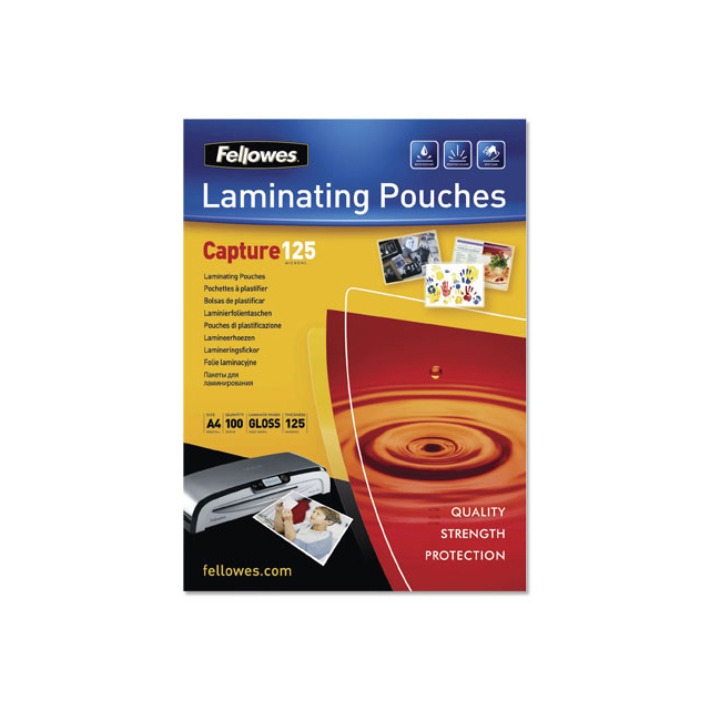 Laminator pouches Fellowes Laminating Pouches 250 Micron A4 Ref 5307407 [Pack 100]