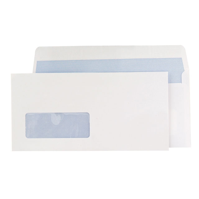 Blake Premium Office Envelopes Wallet P&S Window 120gsm DL Ultra White Wove Ref 32216 Pack 500