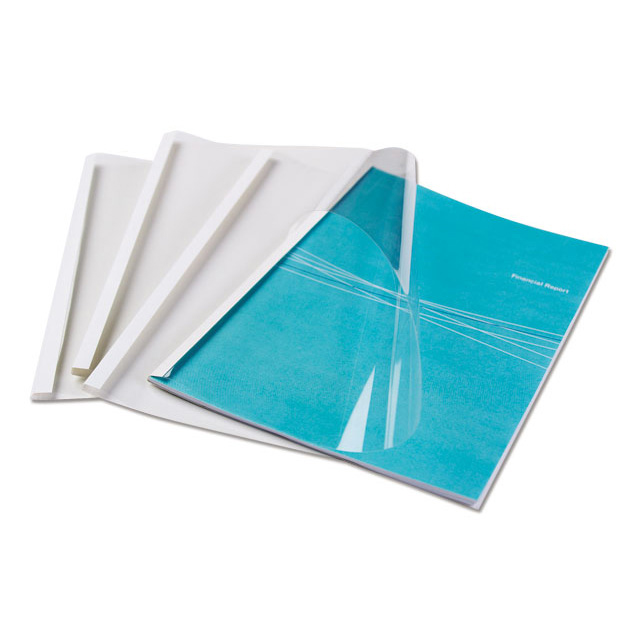 Binding covers Fellowes White Thermal Binding Covers A4 Clear Front White Rear Ref 53151 [Pack 100]