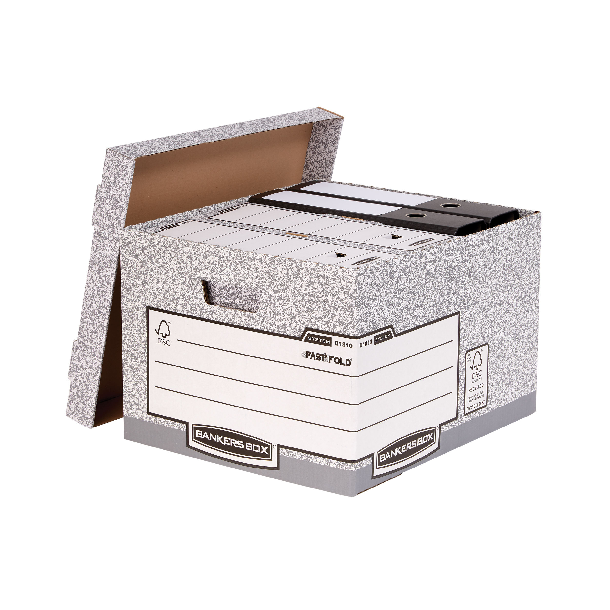 Storage Boxes Bankers Box by Fellowes System Large Storage Box FSC Ref 01810-FF Pack 10