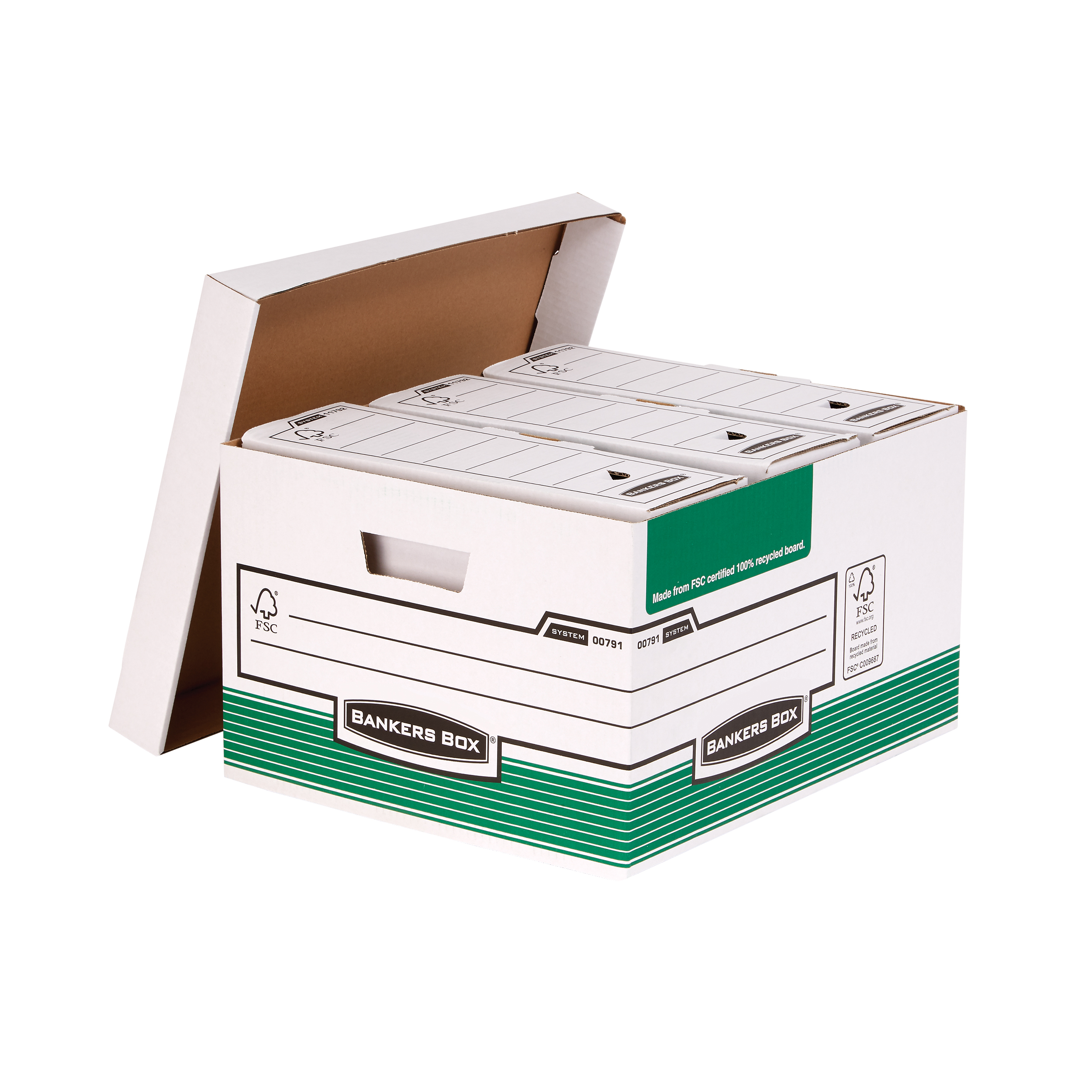 Bankers Box by Fellowes System Storage Box Foolscap White & Green FSC Ref 00791 Pack 10