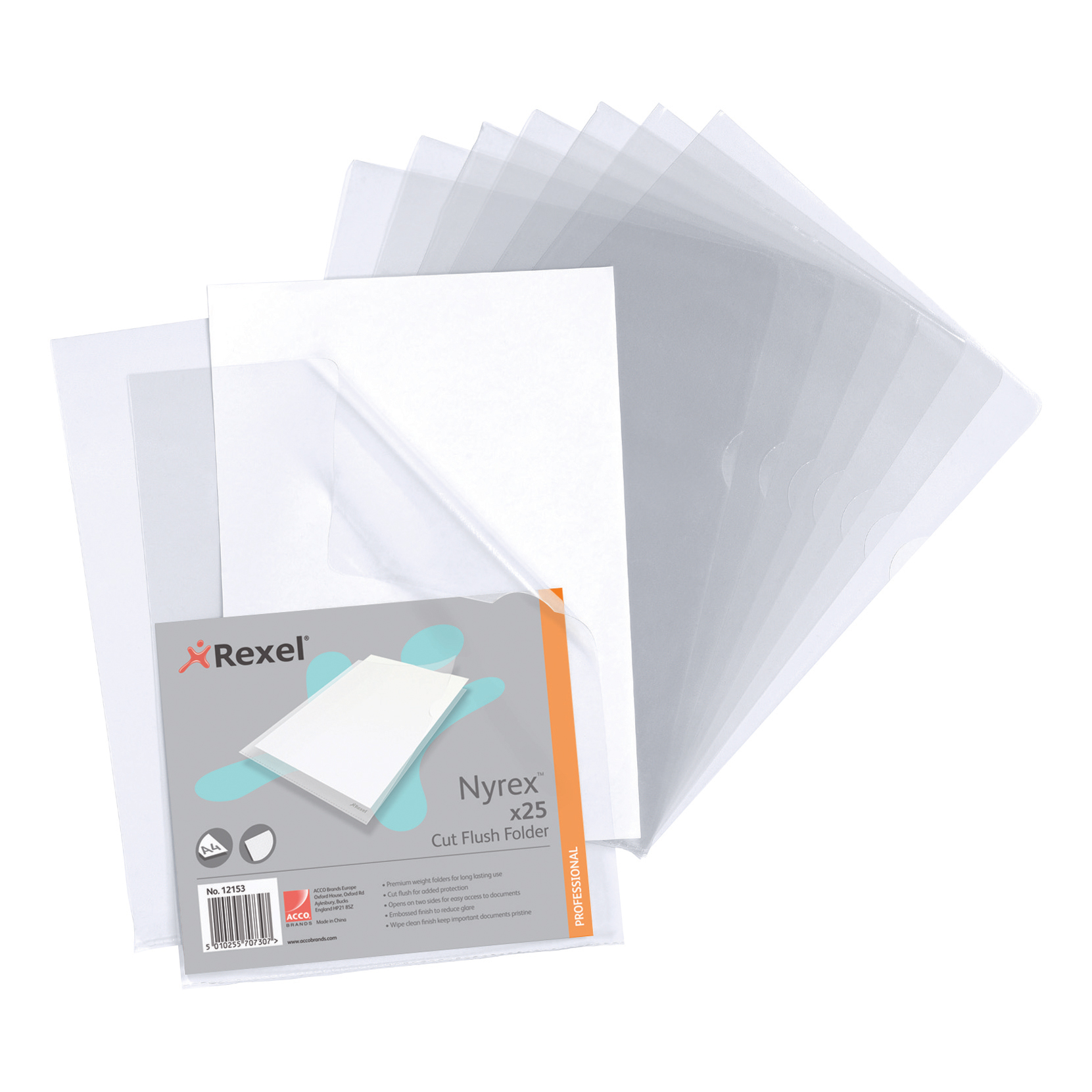 Rexel Nyrex Folder Cut Flush A4 Clear Ref 12153 Pack 25