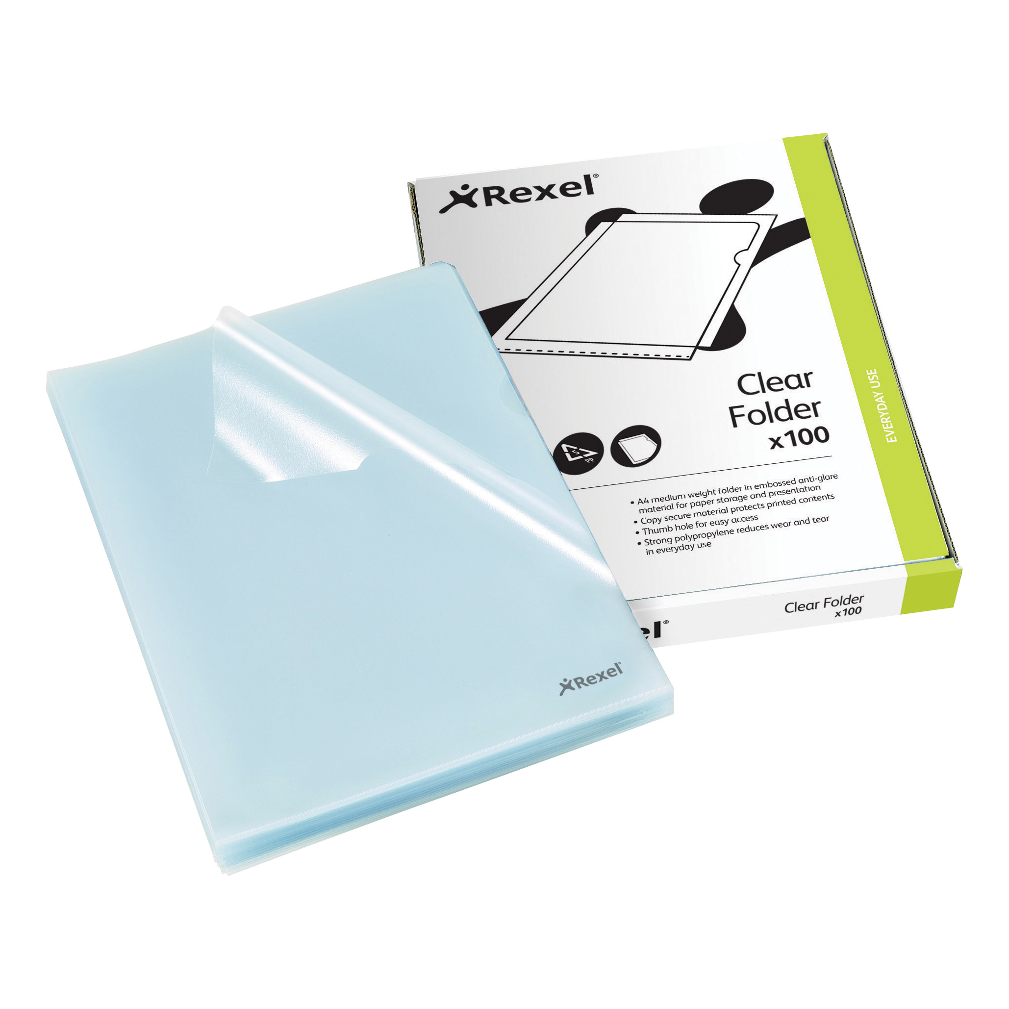 Rexel Cut Flush Folder Polypropylene Copy-secure Embossed Finish A4 Clear Ref 12215 Pack 100