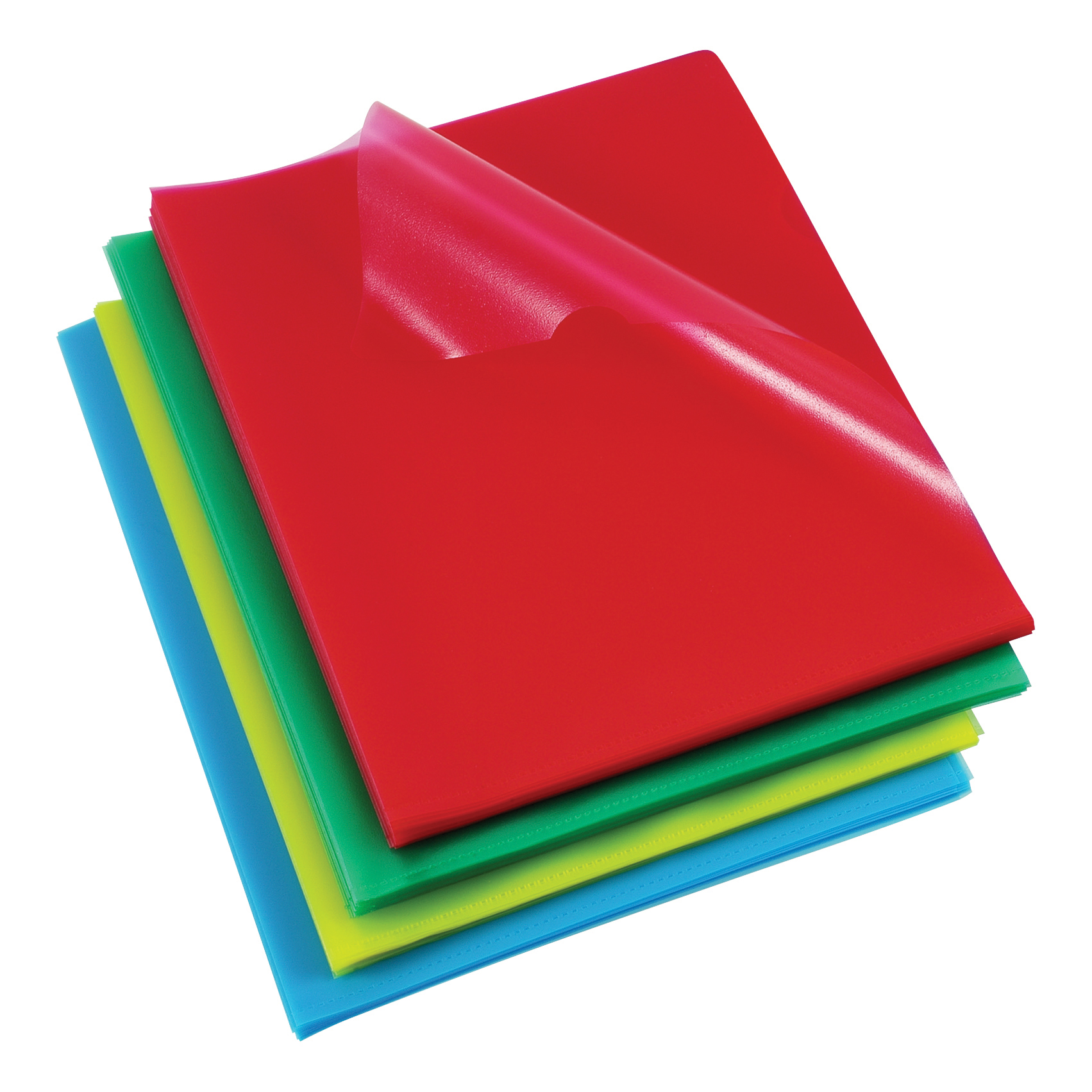 Rexel Cut Flush Folder Polypropylene Copy-secure Embossed Finish A4 Assorted Ref 12216AS Pack 100