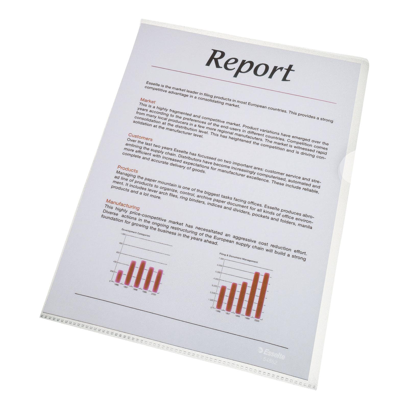 Esselte Copy-safe Folder Plastic Cut Flush A4 Clear Ref 54830/54832 [Pack 100]